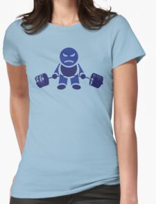 Cute Weightlifting Robot - Deadlift (Dark Blue) Womens Fitted T-Shirt