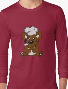 cook cooking delicious food restaurant chef, kitchen grill master chef hat apron pancake teddy bear funny sweet Long Sleeve T-Shirt