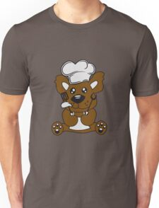 cook cooking delicious food restaurant chef, kitchen grill master chef hat apron pancake teddy bear funny sweet Unisex T-Shirt