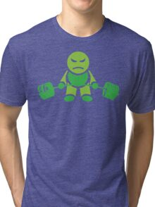Cute Weightlifting Robot - Deadlift (Green) Tri-blend T-Shirt