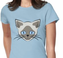 Blue Eyed Siamese Cat Face Graphic Womens Fitted T-Shirt