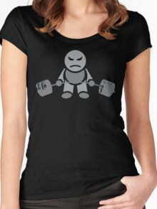Cute Weightlifting Robot - Deadlift (Grey) Women's Fitted Scoop T-Shirt