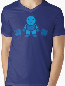 Cute Weightlifting Robot - Deadlift (Blue) Mens V-Neck T-Shirt