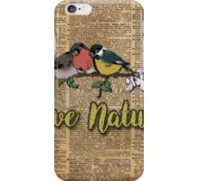 Tit,Bullfinch and Sparrow on branch over Old Book Page  iPhone Case/Skin