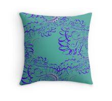 RETRO-Aqua Lace Seamless Fractal Pattern Throw Pillow
