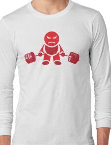 Cute Weightlifting Robot - Deadlift (Red) Long Sleeve T-Shirt
