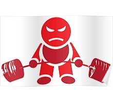 Cute Weightlifting Robot - Deadlift (Red) Poster