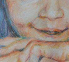 Pensive - A Portrait Of A Boy Sticker