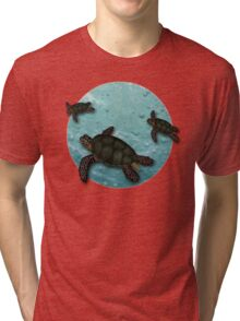 All Three Together Seaturtle Art Tri-blend T-Shirt