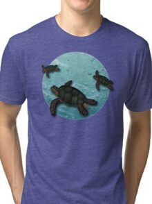 All Three Together Seaturtle Art Tri-blend T-Shirt