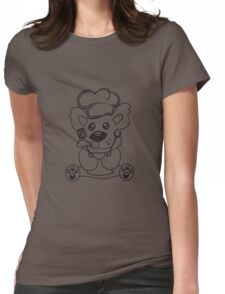 cook cooking delicious food restaurant chef, kitchen grill master chef hat apron pancake teddy bear funny sweet Womens Fitted T-Shirt