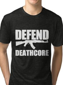Defend Deathcore - White Tri-blend T-Shirt