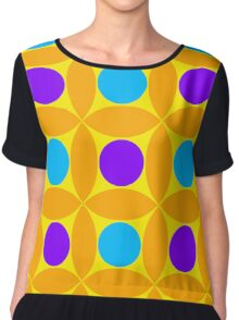 "Retro 1970s Geometric Print ""Circles 2""  Chiffon Top"