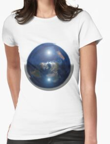 Beautiful Flat Earth with Sun & Moon Womens Fitted T-Shirt