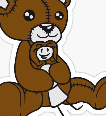 little girl child woman cuddling kuscheltier huge huge seated sweet plush teddy bear Sticker