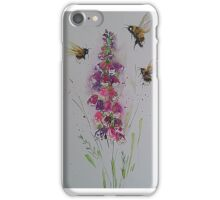 Bumble bees among foxglove iPhone Case/Skin