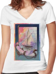 SUMMER SAILS Women's Fitted V-Neck T-Shirt