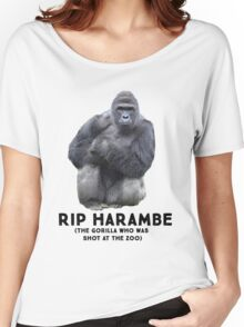 RIP HARAMBE -  BLACK TEXT Women's Relaxed Fit T-Shirt