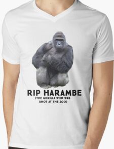 RIP HARAMBE -  BLACK TEXT Mens V-Neck T-Shirt