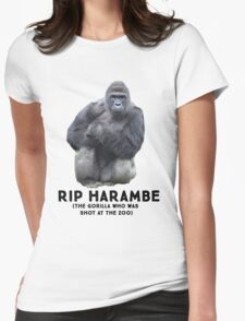RIP HARAMBE -  BLACK TEXT Womens Fitted T-Shirt