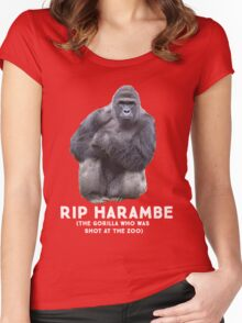 RIP HARAMBE - WHITE TEXT Women's Fitted Scoop T-Shirt
