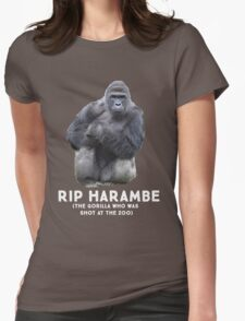 RIP HARAMBE - WHITE TEXT Womens Fitted T-Shirt