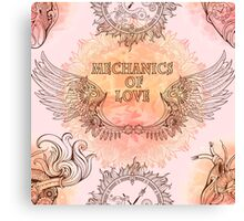Seamless pattern of wings, heart and clockwork in steampunk style. Canvas Print