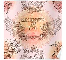 Seamless pattern of wings, heart and clockwork in steampunk style. Poster