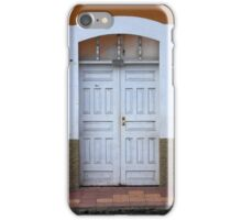 White Door in a Brown Wall iPhone Case/Skin