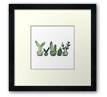 Watercolor Cacti Set Framed Print