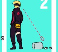 Ninja + Trash Can (Black Lineart) Sticker