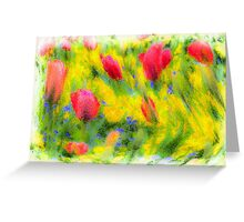 English Summer Flowers Pastel Greeting Card
