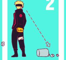 Ninja + Trash Can (Red Lineart) Sticker