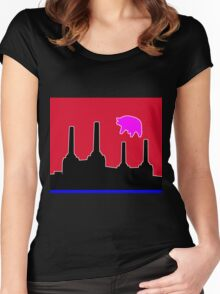 PINK FLOYD FLYING PIG OVER BATTERSEA Women's Fitted Scoop T-Shirt