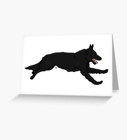 Black German Shepherd Running Greeting Card