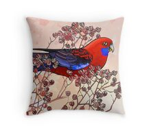 Crimson Rosella Throw Pillow