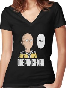 Saitama One Punch Man Ok Women's Fitted V-Neck T-Shirt