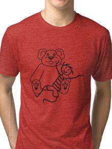 boy cuddling stuffed animal sitting cute little teddy thick sweet cuddly comic cartoon Tri-blend T-Shirt