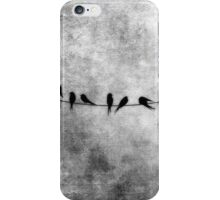 Birds on a Wire woodland illustration in grays iPhone Case/Skin