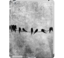 Birds on a Wire woodland illustration in grays iPad Case/Skin