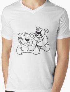fondle young nanny cuddling stuffed animal polar bear sitting sweet cute comic cartoon teddy bear dick big Mens V-Neck T-Shirt