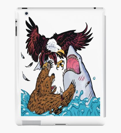 Nature Vs Nature - Bear VS Eagle Vs Shark Threesome iPad Case/Skin