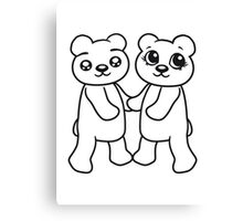 holding hands couple couple friends love love woman man team Teddy Bear comic cartoon sweet cute Canvas Print