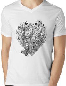 black and white Jungle Leopard Mens V-Neck T-Shirt