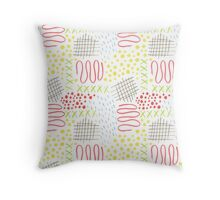 colorful doodle mark pattern Throw Pillow