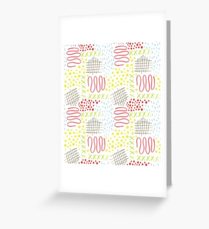 colorful doodle mark pattern Greeting Card