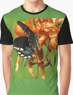 Dance Of Swallowtail and Tiger Lily Graphic T-Shirt