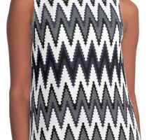 Blue Black & White Chevron Pattern Contrast Tank