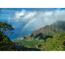 Rainbow at Kalalau Valley Photographic Print