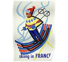Skiing in France Vintage Travel Poster Poster